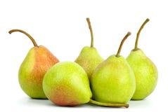 Cinco peras verdes fotos de archivo