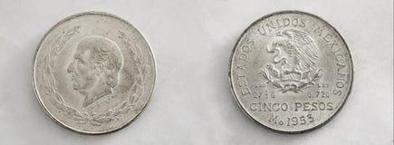 Cinco Pesos Imagenes de archivo