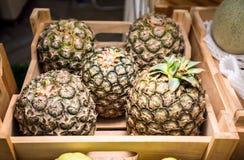 Cinco piñas en cajón de madera Fruta tropical Imagen de archivo libre de regalías