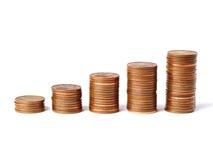 Cinco pilas de monedas Imagen de archivo libre de regalías