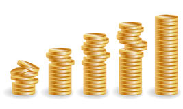 Cinco pilhas de moedas de ouro, uma renda crescente ilustração stock