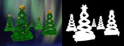 Cinco pinhos verdes do projeto e esferas douradas ilustração royalty free