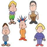 Cinco povos dos desenhos animados ilustração do vetor