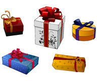 Cinco presentes com fitas Imagem de Stock