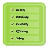 Cinco prioridades de la calidad stock de ilustración