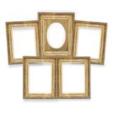 Cinco quadros dourados isolados Fotografia de Stock