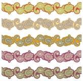 Cinco rayas ornamentales coloreadas Fotografía de archivo libre de regalías