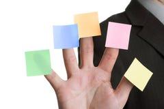 Cinco recordatorios adhesivos en blanco de la nota Imagen de archivo libre de regalías