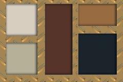 Cinco rectángulos multicolores y fondo metálico de oro stock de ilustración