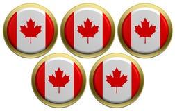 Cinco redondos da bandeira canadense isolada no branco Fotos de Stock Royalty Free