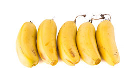 Cinco resultados das bananas colocados Fotografia de Stock Royalty Free