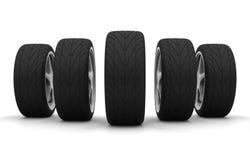Cinco rodas de carro novas Imagens de Stock