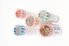 Cinco Rolls de las monedas de Estados Unidos Foto de archivo libre de regalías