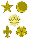 Cinco símbolos de la armería stock de ilustración