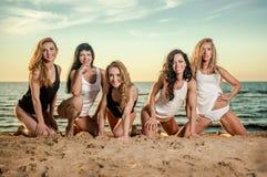 Cinco senhoras 'sexy' na praia Fotos de Stock Royalty Free