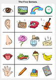 Cinco sentidos - tacto, gusto, audiencia, vista, olor ilustración del vector