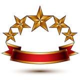 Cinco simbólicos de oro reales estilizaron las estrellas brillantes Imagen de archivo libre de regalías