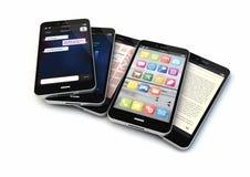 Cinco smartphones Imagenes de archivo