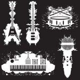 Cinco stylized los instrumentos musicales Imagen de archivo libre de regalías