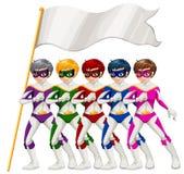 Cinco super héroes y una bandera vacía Imagen de archivo libre de regalías