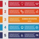 Cinco tiras de color, plantilla para el infographics Imagenes de archivo