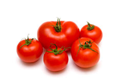 Cinco tomates en el fondo blanco Imagenes de archivo