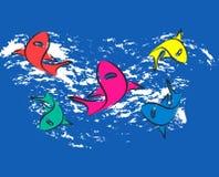 Cinco tubarões Fotos de Stock