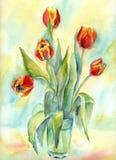 Cinco tulipanes. Foto de archivo libre de regalías