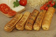 Cinco turcos Borek do café da manhã Imagens de Stock Royalty Free