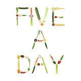 Cinco um vegetais do dia Foto de Stock Royalty Free