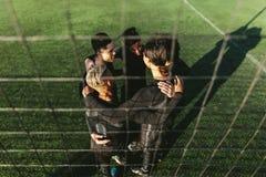 Cinco un equipo de fútbol lateral en círculo Fotos de archivo libres de regalías