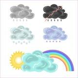 Cinco variantes de nubes y del arco iris Imagen de archivo