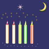 Cinco velas coloridas com lua Fotografia de Stock
