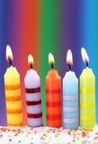 Cinco velas del cumpleaños foto de archivo