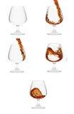 Cinco vidros do conhaque que mostram o processo de derramar o liq ilustração stock