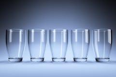 Cinco vidros no estúdio Fotografia de Stock