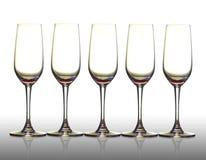 Cinco vidros vazios. Fotografia de Stock Royalty Free
