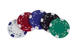 Cinco virutas de póker coloreadas Foto de archivo libre de regalías