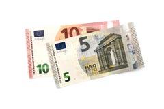 Cinco y diez euros Imágenes de archivo libres de regalías