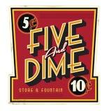 Cinco y muestra del vintage de Main Street de la tienda general de la moneda de diez centavos libre illustration