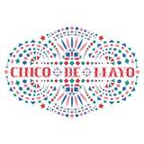 Cincode Mayo creatieve tekst en Mexicaans borduurwerkmotief royalty-vrije illustratie