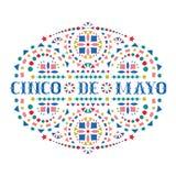Cincode Mayo feestelijke kaart met kleurrijke teksten en helder Mexicaans borduurwerkmotief vector illustratie