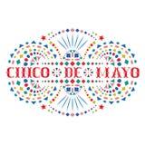 Cincode Mayo feestelijke samenstelling met tekst en helder Mexicaans borduurwerkmotief royalty-vrije illustratie