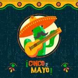 Cincode Mayo kaart van cactus van pret de Mexicaanse mariachi