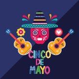 Cincode Mayo kaart van Mexico stock illustratie