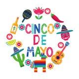 Cincode Mayo kaart van Mexico royalty-vrije illustratie