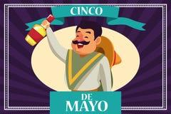 Cincode Mayo Mexico kaart vector illustratie