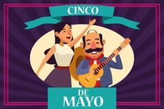 Cincode Mayo Mexico kaart stock illustratie