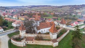 Cincsor medieval church. Aerial view of Cincsor medieval church. Brasov county. Transylvania, Romania stock photos