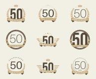 Cincuenta años del aniversario de logotipo de la celebración 50.a colección del logotipo del aniversario Fotos de archivo libres de regalías